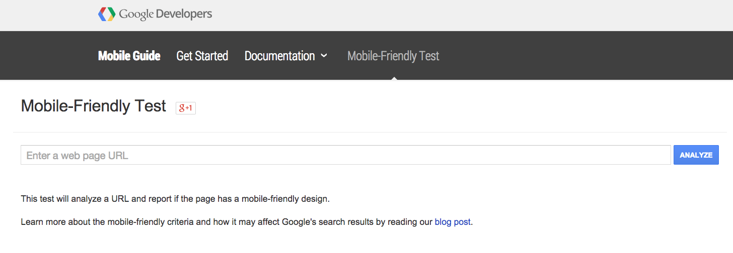 Google Mobile Friendly Testing Page