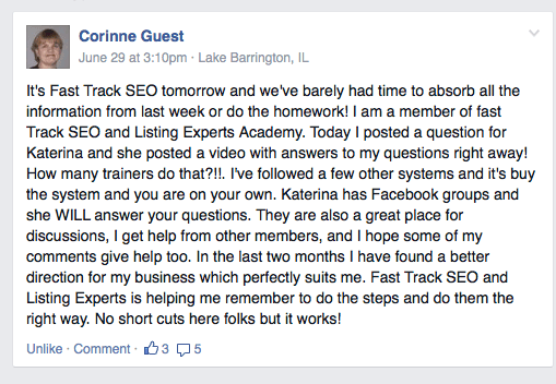 Listing Experts Academy Testimonial Review about product Fast Track SEO