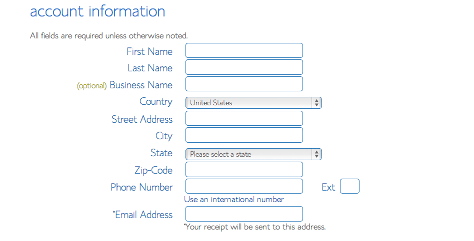 Second step is to input your contact information in bluehost interface